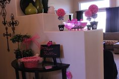 Baby shower décor, pink and black & white damask, baby shower ideas
