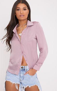 Lina Mauve Satin Shirt Image 1