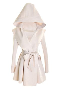 Slim Hooded Cream-colored Trench Coat  very Olivia Pope
