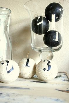 Decorative Numbered Balls, Ornaments White with Black Numbers