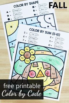 Fall Preschool Activities, Color Activities, Preschool Kindergarten, Addition Activities, Preschool Lessons, Toddler Activities, First Grade Math Worksheets, Free Worksheets For Kids, Math Coloring Worksheets