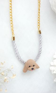 Dog lover, can you resist this beauties? - Cocker Spaniel Big Head Necklace Handmade Animal Clay