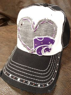 LOVE KSU Wildcats Bling baseball cap by BlingirlSpirit on Etsy, $29.95