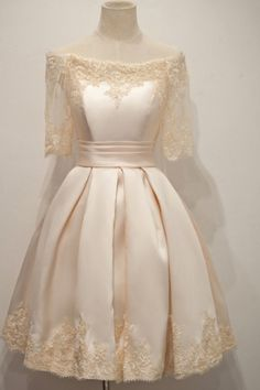 Newest boat neck short sleeves lace homecoming dresses,sparkly knee length simple cheap homecoming dress,modest cocktail dresses,beauty graduation dresses Dresses For Teens, Trendy Dresses, Modest Dresses, Elegant Dresses, Nice Dresses, Short Dresses, Dresses With Sleeves, Formal Dresses, Satin Dresses