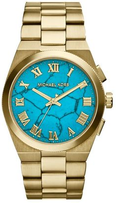 The new Michael Kors watch? The Channing in gold with a turquoise face