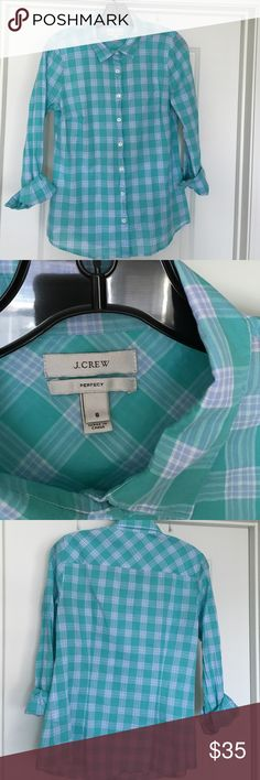 Button down J. Crew top Gorgeous mint and lilac plaid J. Crew top. J. Crew Tops Button Down Shirts