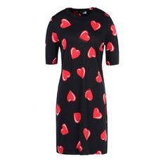 Moschino Love Hearts Womens Short Sleeve Short Dress Black