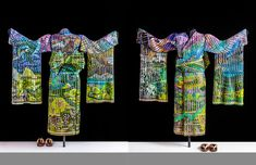 Spring Dawn is the third in a series of four freestanding life-size kimonos representing the four seasons during different times of day.  The kimono is made of 19 separate pieces of woven glass supported by a metal mannequin.  Colors of a springtime landscape in full bloom with crocuses and daffodils and blossoming cherry trees are featured.  The sister kimonos are Autumn Sunset, Winter Twilight, and Summer Zenith.