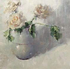"A study in whites and grays.. Oil painting by Alabama artist Gina Brown ""A Rose Again"""
