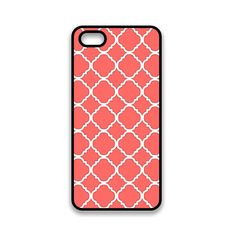 iPhone 5 Coral Pink Damask Four Leaf Clover iPhone Case iPhone 5 Hard Cover.