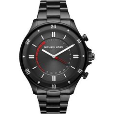 Michael Kors Access Men's Reid Black Stainless Steel Hybrid Smart... (10,760 THB) ❤ liked on Polyvore featuring men's fashion, men's jewelry, men's watches, black, mens stainless steel watches, mens watches, mens watches jewelry, michael kors mens watches and mens analog watches