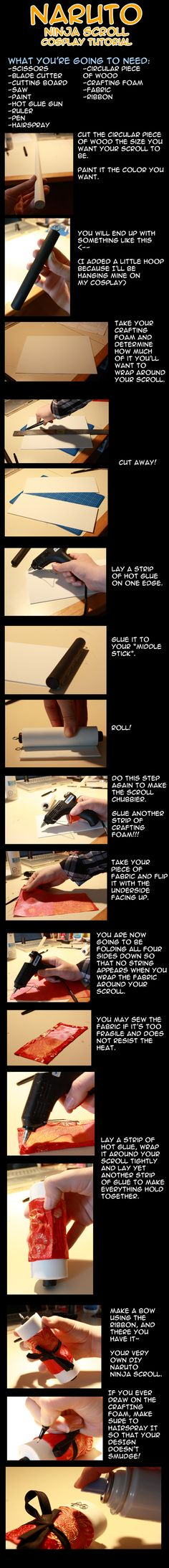 Naruto Ninja Scroll Tutorial by LiquidNytrogen on DeviantArt Cosplay Diy, Cosplay Outfits, Best Cosplay, Cosplay Costumes, Cosplay Ideas, Anime Diys, Anime Crafts, Naruto Party Ideas, Naruto Birthday