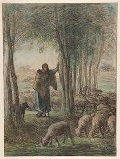 Una pastora y su rebaño a la sombra de los árboles, 1855 - Jean-François Millet