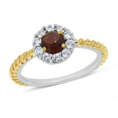 Viola, Round-cut Hessonite Cabochon & White Topaz Ring in Sterling Silver