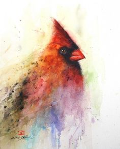 A cardinal in watercolour by Dean Crouser...........Dean was born and raised in Oregon and his love of the outdoors can be found in his art.....He tries to keep his work loose and simple..........I love all the colour, but it is clear that this is a cardinal.