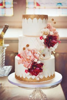 Pink and Gold Wedding Cake With Sugar Flowers www.elegantwedding.ca