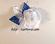 Artificial Flower Boutonnieres | White Royal Blue Wedding/Prom Silk Flower Boutonniere.