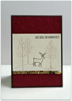 Weihnachtskarte Stamin up wald rehntier weisse weihnacht prägefolder sterne zum weihnachtsfest hirsch paillettenband