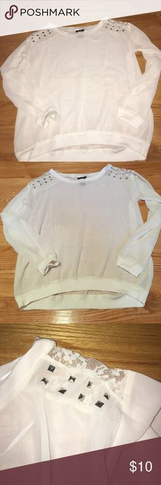 Whit/ivory sheer shirt Excellent condition!!! worn once!!!! Rue 21 Tops Tees - Long Sleeve