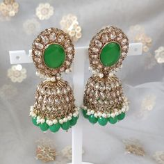 Jhumki Earrings, Bridal Earrings, Dangle Earrings, Antique Gold, Parrot, Dangles, Colours, Beads, Stone
