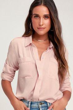 8df5a38c86f7 #EnvyWe #Lulus Womens - Lulus Chic Pursuit Light Blush Pink Long Sleeve Top  -