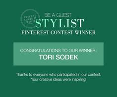 Congratulations to our Pinterest contest winner @Tori Sodek! Again, thanks for participating. We loved looking at each and every room and hoped your enjoyed pinning your dream bed and bathrooms!