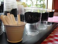 Chalkboard paint...good idea for cookouts or large family gatherings
