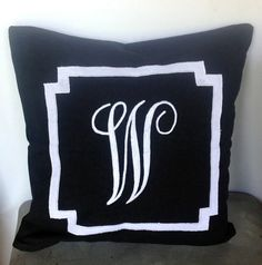 Check out Monogrammed black embroidered border pillow cover, black throw pillows, 16 inches Decorative Pillow cover on snazzyliving