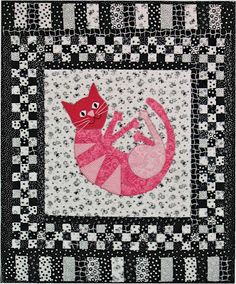 Dorky Homemade Quilts: Pink Kitty by Lisa Boyer- Interesting use of black and white fabrics with a central pop of colour. Quilt Baby, Baby Quilts To Make, Cat Quilt, Quilt Stitching, Applique Quilts, Embroidery Applique, Colorful Quilts, Small Quilts, Quilting Board