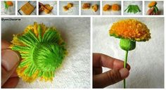 Bildergebnis für manualidades con lana faciles paso a paso Flowers To Go, Pom Pom Flowers, Yarn Flowers, Diy Flowers, Pretty Flowers, Flower Decorations, Paper Flowers, Flower Diy, Pom Pom Crafts