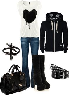 """""""lil' Punk"""" by dori-tyson ❤ liked on Polyvore Don't like the boots but the rest is awesome!"""