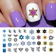 Hanukkah Holiday Assortment Water Slide Nail Art Decals Set No.2 - Salon Quality 5.5' X 3' Sheet! * Be sure to check out this awesome product.