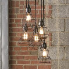 Industrial Cage Work Light Chandelier - eclectic - chandeliers - - by Shades of Light