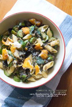 Pennette alle zucchine e melanzane con bastoncini di merluzzo a scaglie, menta e pecorino: Un piatto unico leggero ma sfizioso, ottimo per chi è a dieta!
