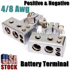 4/8 Gauge Awg Battery Terminal Car Silver Chrome Positive Negative Heavy Duty
