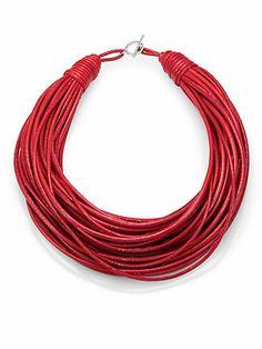 Brunello Cucinelli - Patent Leather Cord Multi-Strand Necklace
