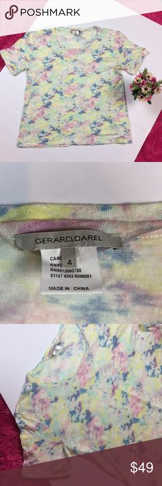"Gerard Darel Pastel Tie Dye Linen T-shirt Gerard Darel Pastel Tie Dye Linen T-shirt  Size 4   Luxurious t shirt from Gerard Darel - 100% linen  Super cute, light Linen top pairs well with jeans   Excellent condition  24"" length from back neckline & approx 20"" pit to pit laying flat   Fast shipping Gerard Darel Tops Tees - Short Sleeve"