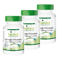 Omega-3-Kapseln aus 500mg Fischöl - 2 plus 1 gratis (3x 90 Softgels) - 90mg EPA, 60mg DHA