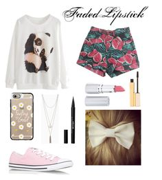 """""""Untitled #30"""" by fadedlipstick on Polyvore featuring American Apparel, Converse, Casetify, HoneyBee Gardens and Stila"""