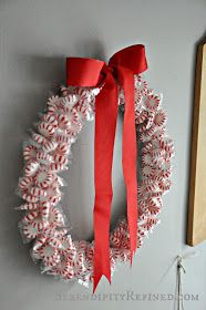 Serendipity Refined: DIY Holiday Peppermint Wreath: Dollar Tree Craft