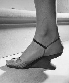 """Ferragamo's """"invisible shoe."""" Location:Italy Date taken:1947"""
