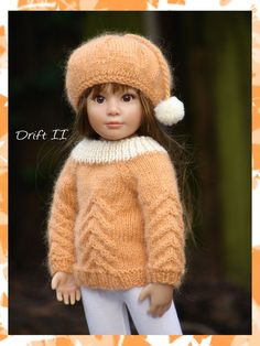 Drift is a cable stitched sweater and tam knitting pattern for slim all vinyl 18in dolls like the Kidz n Cats series. $2.99, via Etsy.