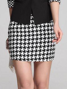 FashionKNITTING X-336 New skirts womens Houndstooth mini skirts summer short Swallow gird skirt