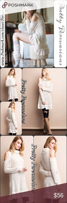 NWT Cream Cold Shoulder Slouchy Ruffle Hem Sweater NOW AVAILABLE • Description coming soon 😍 Pretty Persuasions Sweaters