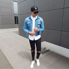 Denim x Ripped Jeans  follow me on Snapchat to see my life besides Fashion  Snapchat   StreetandGentle #acnestudios #rippedjeans #outfit #outfitpost