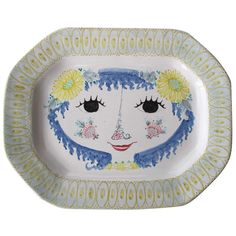 Vintage Scandinavian Ceramic Platter, Early Piece by Bjørn Wiinblad, 1950 |