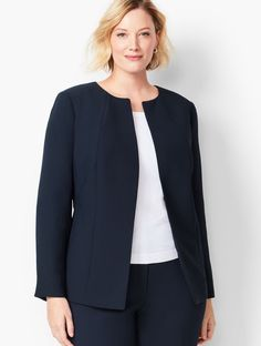 DetailsPart of our RSVP Occasion collection. If you're looking for an extra-sleek suit jacket, this is the one! Fine tailoring with princess seams and a hook-and-bar closure gives this jacket a flatte Plus Size Suits, Plus Size Blazer, Plus Size Womens Clothing, Plus Size Fashion, Suit Fashion, Fashion Outfits, Look Office, Office Style, Classic Work Outfits