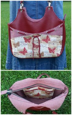 Very versatile purse sewing pattern. Check out the pretty pink one at this link too - adorable!  I love all the pockets and options inside and out on this bag sewing pattern.