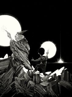 The Cave ~ artist Nicolas Delort.  Part of an anthology inspired by Harry Potter. Ink on clayboard.  #art #illustration
