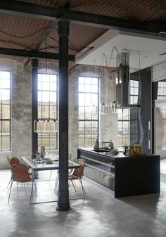 http://boomzer.com/transform-industrial-room-becomes-amazing-also-roomy-apartments/visualizer-algimantas-raubiska-vaulted-ceiling-design-concrete-flooring-leather-dining-chair-glass-ceiling-lamp-large-glass-windows-iron-pillar-black-contertop-kitchen-island/
